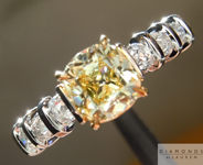 Yellow Diamond Ring: .90ct Fancy Yellow Branded DBL Modern Antique Diamond GIA R4773