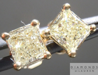 SOLD....Yellow Diamond Earrings: .83cts W-X SI1 Princess Cut Diamond Stud Earrings R4594