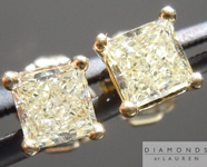 SOLD....Yellow Diamond Earrings: .70cts W-X SI1-2 Princess Cut Diamond Stud Earrings R4595
