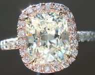 SOLD...Diamond Ring: 2.25ct K/VVS1 Cushion Cut GIA Pink Diamond Halo R4802