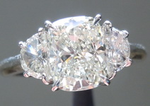 SOLD...Diamond Ring: 1.37ct K SI1 Cushion Cut GIA Hand Forged Three Stone Ring R4805