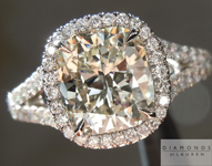 "Diamond Ring: 2.09ct K/VVS1 Cushion Cut GIA ""Uber"" Split Shank Halo Ring R4803"