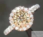 SOLD.... Brown Diamond Ring: .76ct Fancy Yellow Brown SI1 Round Brilliant Halo Ring R4614