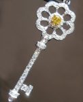Yellow Diamond Pendant: .16ct Fancy Vivid Yellow SI1 GIA Key Pendant R4799