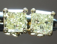 SOLD.... Yellow Diamond Earrings: .70cts Y-Z SI2 Radiant Cut Diamond Stud Earrings R4631