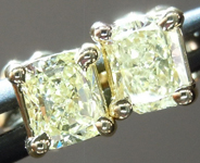 SOLD...Yellow Diamond Earrings: .56cts Y-Z SI1-SI2 Radiant Cut Diamond Stud Earrings R4632