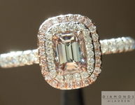 Pink Diamond Ring: .36ct Light Pink SI2 Emerald Cut GIA Pink Diamond Halo Ring R4817