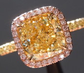 SOLD....Yellow Diamond Ring: 2.08ct Fancy Light Yellow I1 Cushion Cut GIA Pink Diamond Halo R4755