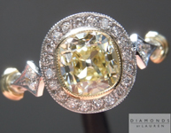Diamond Ring: 1.02ct Fancy Light Yellow Internally Flawless Branded DBL Modern Antique Diamond GIA Antique Filigree Style Ring R4768