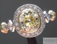 Diamond Ring: 1.02ct Fancy Light Yellow Internally Flawless Branded DBL Modern Antique Diamond GIA Antique Filigree Style Ring R4768