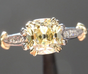 Yellow Diamond Ring: 1.02ct Q-R VS1 Branded DBL Modern Antique Diamond GIA Antique Style Filigree R4765