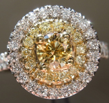 Yellow Diamond Ring: .38ct Fancy Brownish Yellow SI2 GIA Double Halo Ring R4826