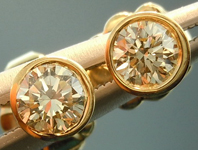 SOLD....Diamond Earrings: .34cts M/VS Round Brilliant Bezel Set Diamond Stud Earrings R4207