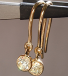 SOLD....Yellow Diamond Earrings: .48cts W-X VS1 Round Brilliant Bezel Set Dangle Earrings R4436