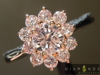 Argyle Pink Diamond Ring: .45ct Fancy Light Pink Argyle GIA Pink Diamond Halo Ring R4844