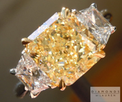 SOLD....Yellow Diamond Ring: 2.39ct Fancy Light Yellow VS2 Radiant Cut GIA Three Stone Ring R4858