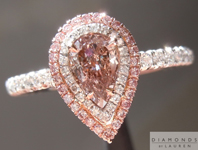 Pink Diamond Ring: .36ct Fancy Brownish Pink Pear Shape GIA Double Halo Ring R4678