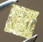 SOLD.... Yellow Diamond Ring: .32ct Fancy Light Yellow VS2 Princess Cut Bezel Set Ring R4886