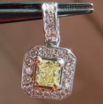 Yellow Diamond Pendant: .32ct Fancy Yellow SI1 Cushion Cut Diamond Halo Pendant GIA R4889