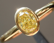 Yellow Diamond Ring: .38ct Fancy Intense Yellow SI1 Oval Shape GIA Bezel Set R4900