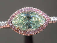 Natural Green Diamond Ring: .67ct Fancy Light Yellow-Green VS1 Marquise GIA Pink Diamond Halo R4901