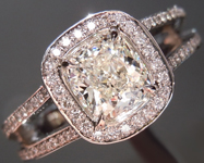 Colorless Diamond Ring: .95ct J SI1 Cushion Modified Brilliant GIA Halo Ring R4924
