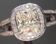 Colorless Diamond Ring: 1.10ct K VS1 Cushion Cut GIA Split Shank Halo Ring  R4926