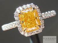 Vivid Yellow Diamond Ring: 1.01ct Fancy Vivid Yellow SI1 Radiant Cut GIA Single Cut Diamond Halo Ring R4729