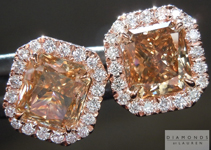 SOLD.....Brown Diamond Earrings: 2.43ctw Brown Radiant Cut Diamond Halo Earrings R4914