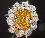 Yellow Diamond Ring: 2.13ct Fancy Vivid Yellow VS1 Cushion Cut GIA with Old Mine Pears R4930