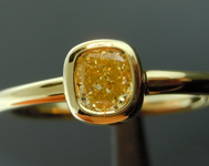 SOLD.....Yellow Diamond Ring: .36ct Fancy Yellow VVS2 Cushion Cut GIA Bezel Set Ring R4897