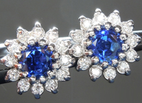 SOLD....Sapphire Earrings: .66cts Blue Round Brilliant Sapphire and Diamond Halo Earrings R4882