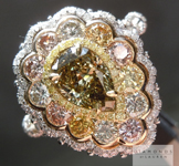 Fancy Colored Diamond Ring: 1.17ct Pear Shape and Assorted Fancy Colored Diamond Ring GIA R4942