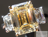 Yellow Diamond Ring: 3.40ct Fancy Light Yellow VS1 Emerald Cut GIA Three Stone Ring R4939