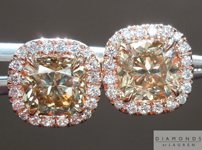 Brown Diamond Earrings: 2.14cts Fancy Yellow-Brown Cushion Cut Diamond Halo Earrings R4968