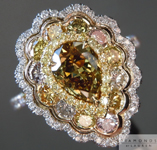 SOLD....Fancy Colored Diamond Ring: .74ct Pear Shape and Assorted Fancy Colored Diamond Ring GIA R4969
