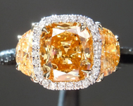 Orange Diamond Ring: .78ct Fancy Vivid Yellow-Orange I1 Cushion Cut GIA Halo Three Stone R4943