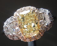 Yellow Diamond Ring: 1.36ct Fancy Light Yellow VVS2 Cushion Cut GIA Three Stone Halo R4986