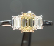 Yellow Diamond Ring: .50ct Fancy Light Yellow Emerald Cut GIA Three Stone Ring R4966