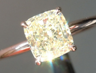 SOLD....Yellow Diamond Ring: 1.21ct Fancy Light Yellow VS1 Cushion Cut GIA Hand Forged Solitaire R4985