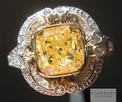 Yellow Diamond Ring: 2.02ct Fancy Intense Yellow SI1 Cushion Cut GIA Antique Style Setting R5000