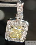 Yellow Diamond Pendant: .60ct Fancy Yellow VS2 Radiant Cut GIA Halo Pendant R4588
