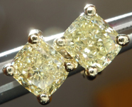SOLD...Yellow Diamond Earrings: 1.26cts Fancy Light Yellow VS Cushion Cut Stud Earrings R5004