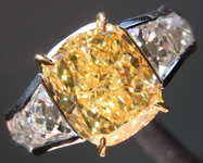 Yellow Diamond Ring: 2.80ct Fancy Intense Yellow Internally Flawless Cushion Cut GIA French Cut Diamonds R5009