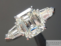 SOLD...Diamond Ring: 1.59ct K VVS1 Emerald Cut GIA Three Stone Ring Tapered Bullets R4884