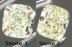 SOLD....Yellow Diamond Earrings: 1.15cts Fancy Light Yellow VS Cushion Cut Stud Earrings R5005