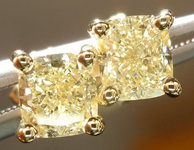 Yellow Diamond Earrings: 1.14cts Fancy Light Yellow Cushion Cut GIA Stud Earrings R5006