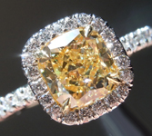 Yellow Diamond Halo Ring: 1.25ct Fancy Light Yellow VS2 Cushion Modified Brilliant GIA Uber Halo R4987