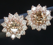 SOLD.....Brown Diamond Earrings: .38cts Fancy Yellowish Brown SI1 Round Brilliant Halo Earrings R4970