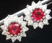 Ruby Earrings: 1.15cts Round Brilliant Ruby and Diamond Halo Earrings R5008